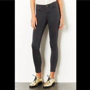 Topshop Moto 'Leigh' Mid Rise Skinny Jeans Grey